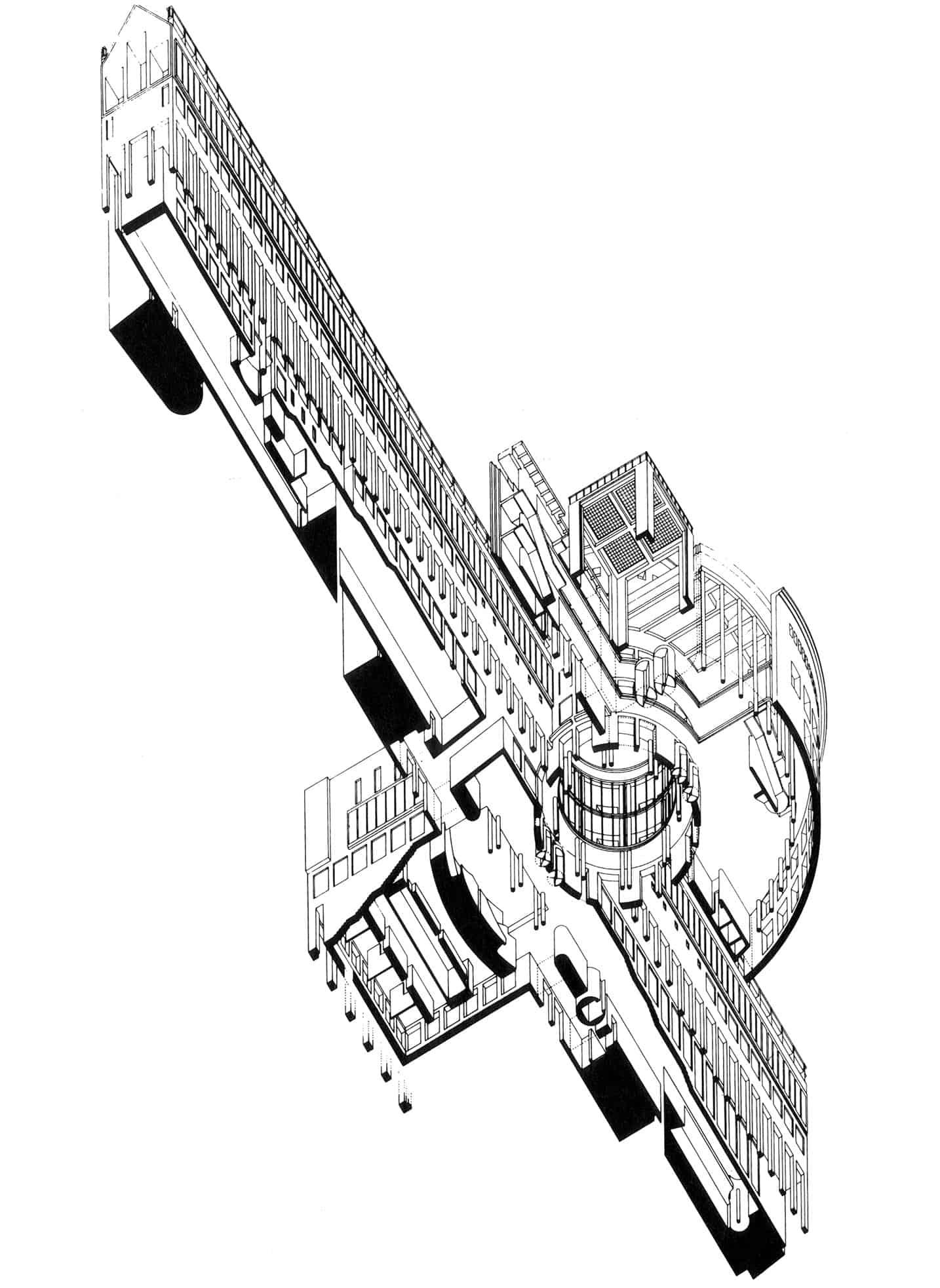 Jansen, Scholz und Schultes (BJSS), Schirn Kunsthalle, Isometrie \ Zeichnung: 1984, © DAM