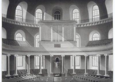 Innenansicht der historischen Paulskirche mit Empore, ca. 1833