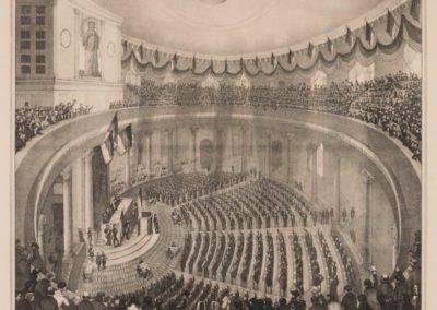 Eröffnung der Nationalversammlung in der Paulskirche (mit abgehängter Zwischendecke), 18. Mai 1848