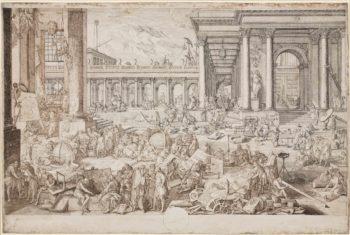 Nach Sébastien Leclerc: Die Akademie der Künste und Wissenschaften, 17th century, 255x381mm © Städel Museum, Frankfurt am Main.