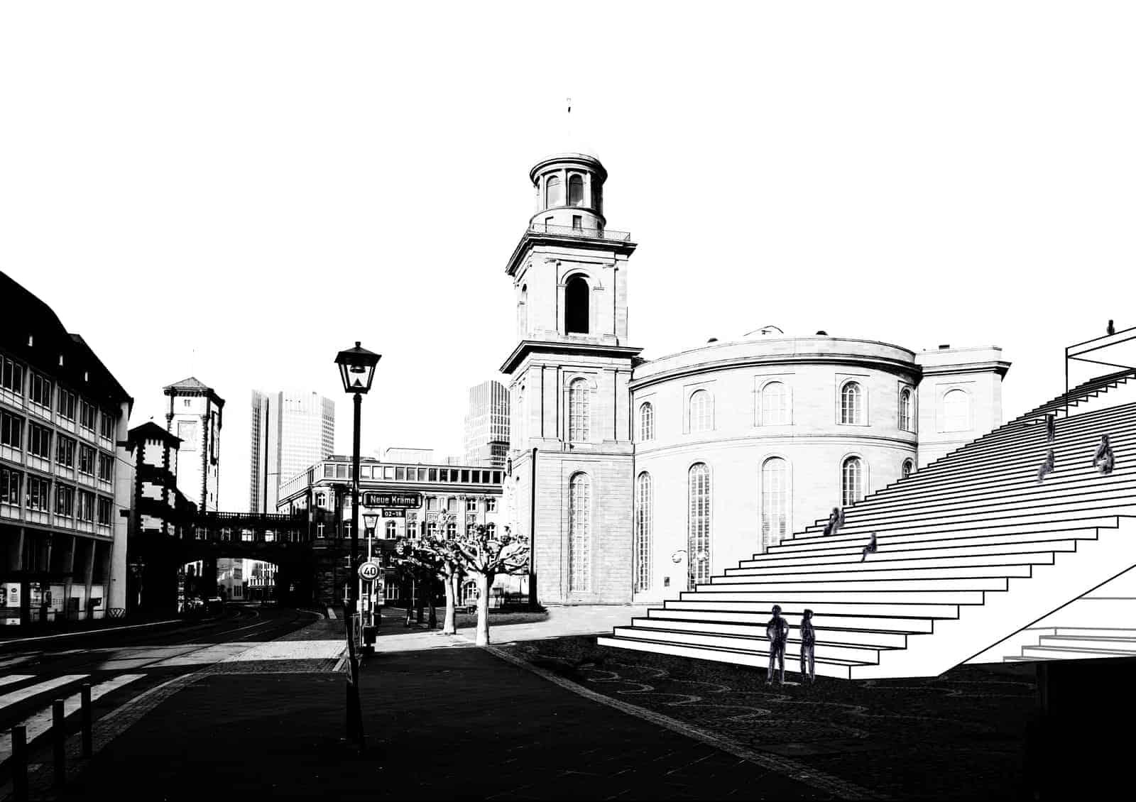 Blick auf die Republikanische Treppe und die Paulskirche I © Sandra Voss/Holger Kleine/HSRM
