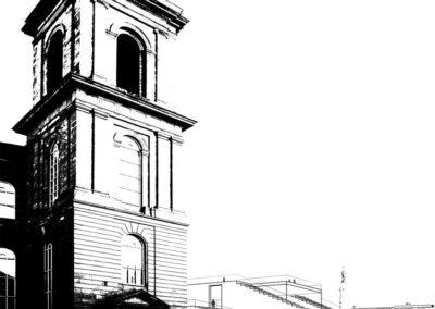 Blick auf Turm der Paulskirche und den Salon der Republik I Sandra Voss/Holger Kleine/HSRM